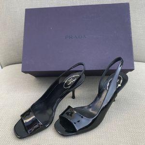 Prada Black Patent Heels